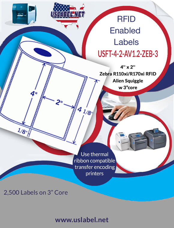 Zebra R110Xi/170Xi RFID Avery AD224 - 4'' x 2'' - enabled 2500 Labels on a Roll with a 3 inch core.