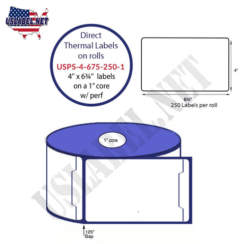 4'' x 6 3/4''Direct Thermal Shipping System label 250 on a 1'' core 3,000 labels