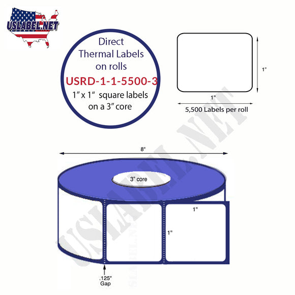 1'' x 1'' Direct Thermal Labels on a 3'' Core  - 8'' OD - uslabel.net  America's label store.