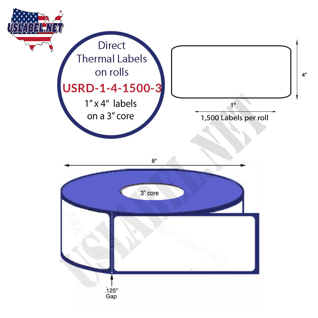 USRD-1-4-1500 - 3 - 1'' x 4''-1,500 Thermal Labels on a 3'' core 12,000 labels.