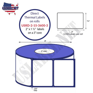 2'' x 1.5'' Direct Thermal Labels on a 3'' Core  - 8'' OD - uslabel.net  America's label store.