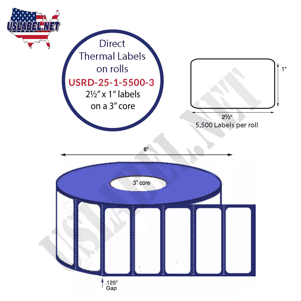 2.5'' x 1'' Direct Thermal Labels on a 3'' Core  - 8'' OD - uslabel.net  America's label store.
