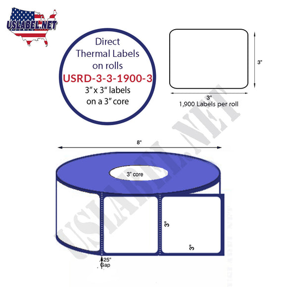 3'' x 3'' Direct Thermal Labels on a 3'' Core  - 8'' OD - uslabel.net  America's label store.