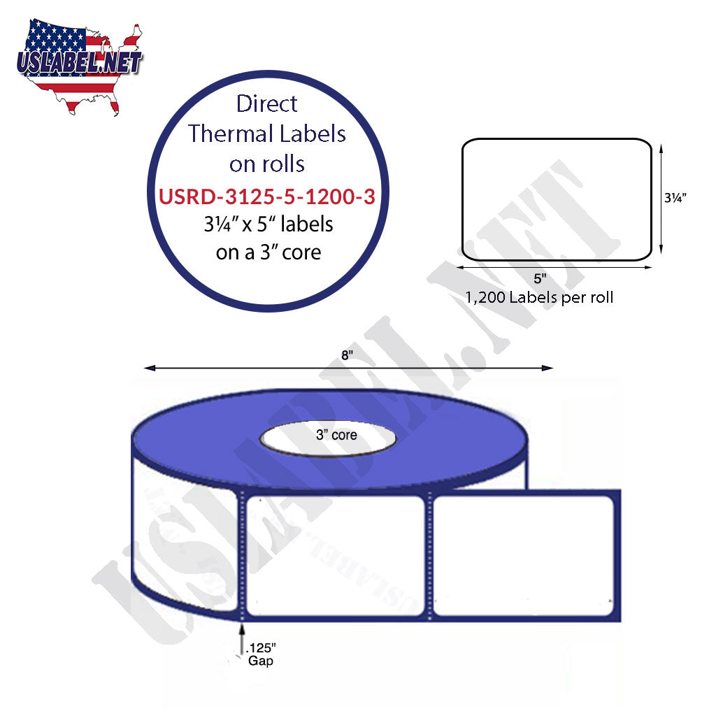 USRD-3125-5-1200-3-3 1/8'' x 5''Thermal Labels 1,200 on a 3'' core 4,800 Labels.