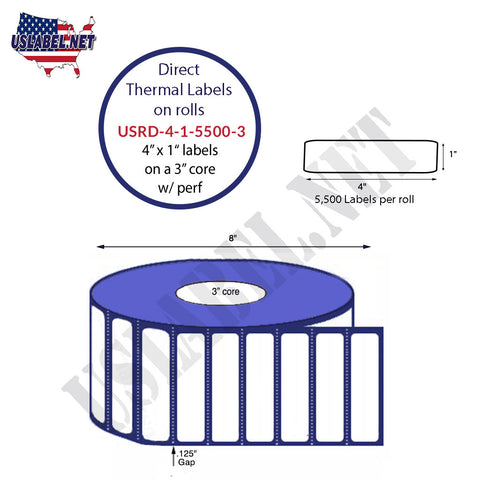 4''x1'' Premium Direct Thermal Labels 5,500 on a 8'' O.D 3'' core 22,000 labels.