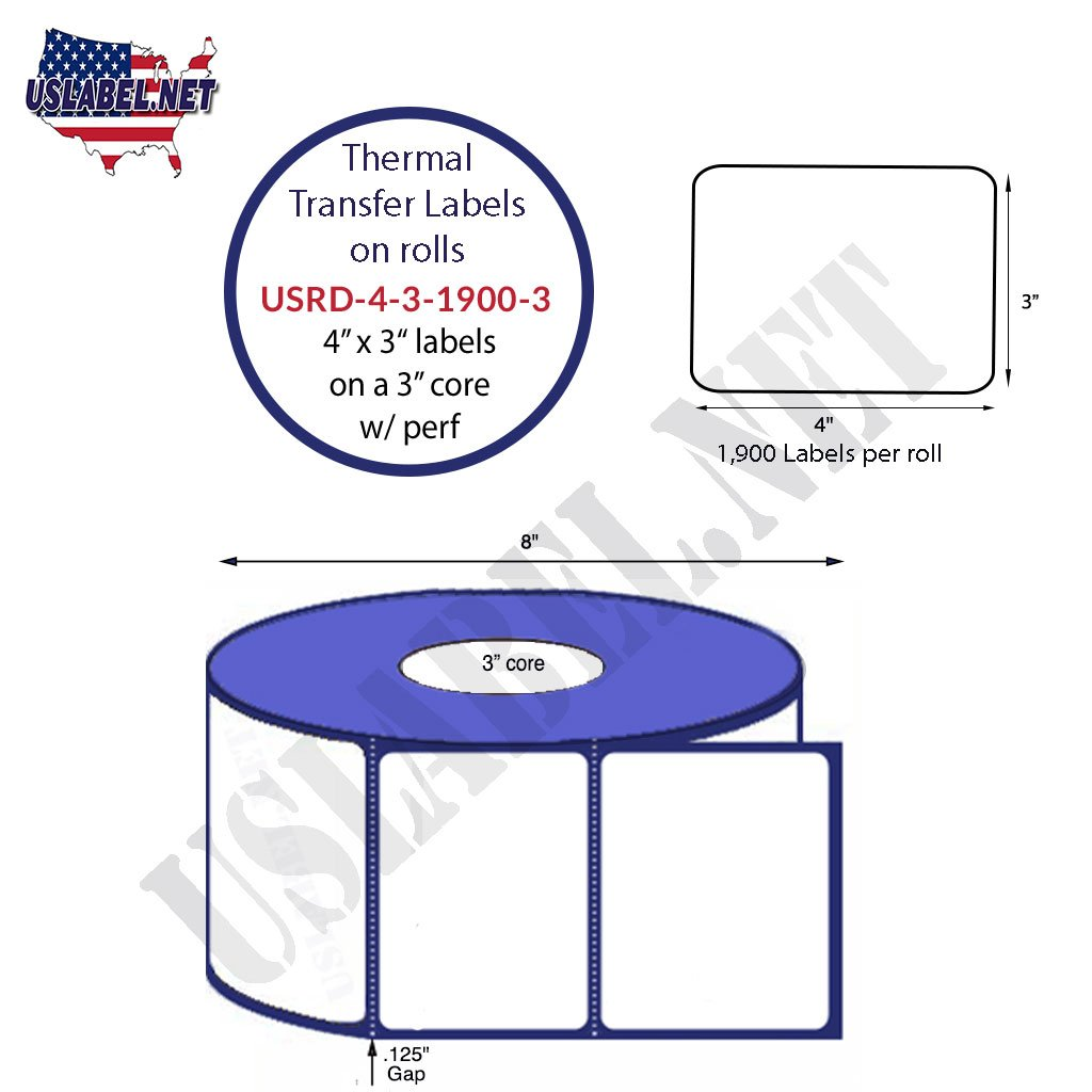 4'' x 3'' - Standard Direct Thermal 1,900 Labels on a 3'' core 7,600 labels. - uslabel.net - The Label Resource Center
