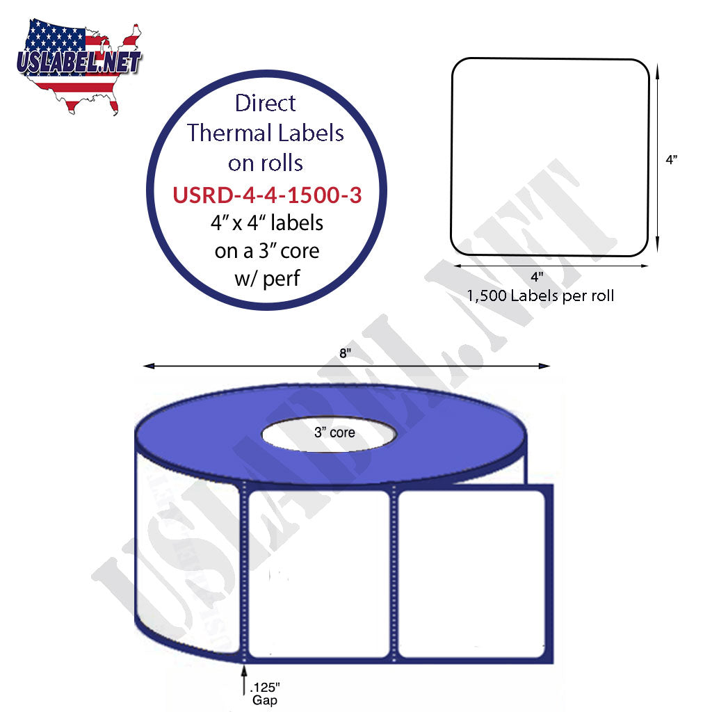 4'' x 4'' Square Premium Direct Thermal 1,500 Labels on a 3'' core 6,000 labels. - uslabel.net - The Label Resource Center
