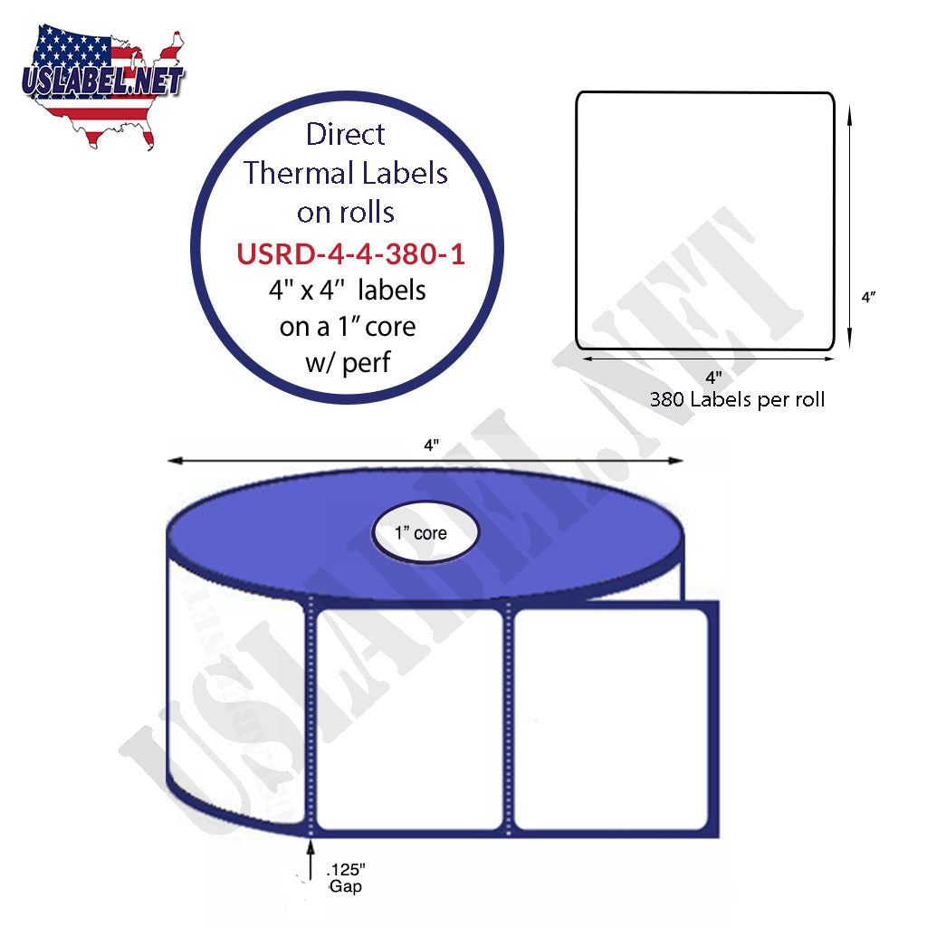 4'' x 4'' Premium Direct Thermal Labels 380 on a 4'' O.D. 1'' core 4,560 labels. - uslabel.net - The Label Resource Center