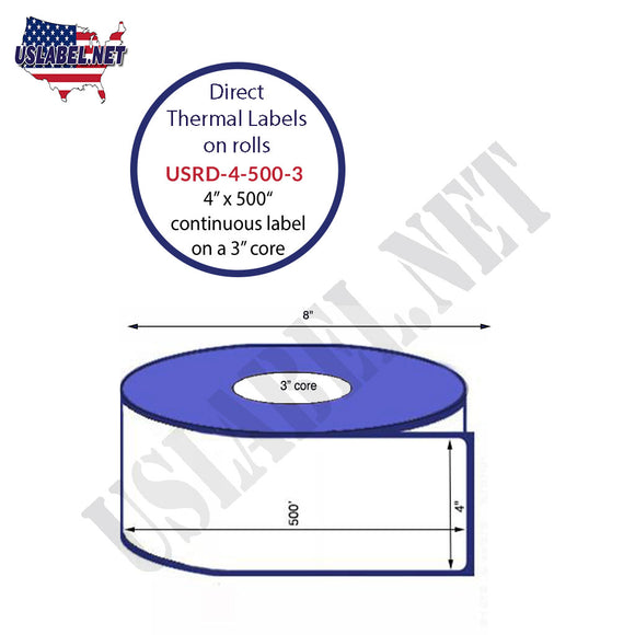 4'' x 500' Direct Thermal Labels on a 3'' Core  - 8'' OD - uslabel.net  America's label store.