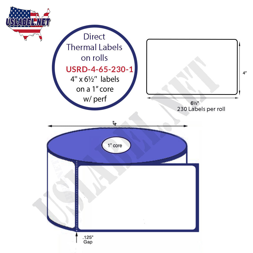 4''x6 1/2'' Premium Direct Thermal Labels 230 on a 4'' O.D.1'' core 2,760 labels - uslabel.net - The Label Resource Center
