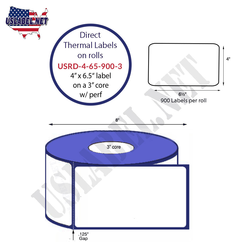 4'' x 6 1/2'' Premium Direct Thermal 900 Labels on a 8''OD 3'' core 3,600 labels - uslabel.net - The Label Resource Center