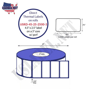 4.5'' x 2.5'' Direct Thermal Labels on a 3'' Core  - 8'' OD - uslabel.net  America's label store.