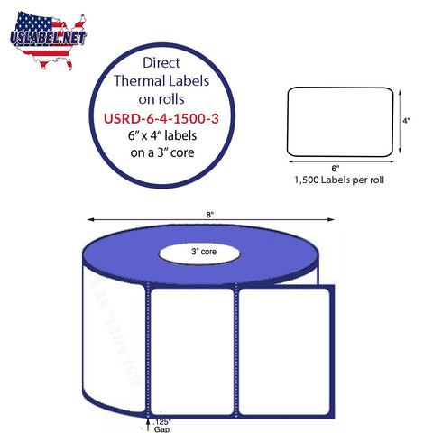 6'' x 4'' Premium Direct Thermal 1,500 Labels on a 8'' O.D.3'' core 6,000 labels