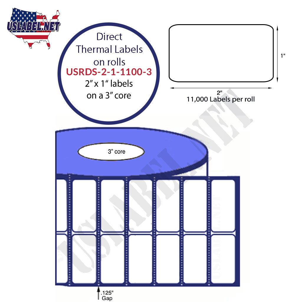 2'' x 1'' Direct Thermal Labels on a 3'' Core  - 8'' OD - uslabel.net  America's label store.