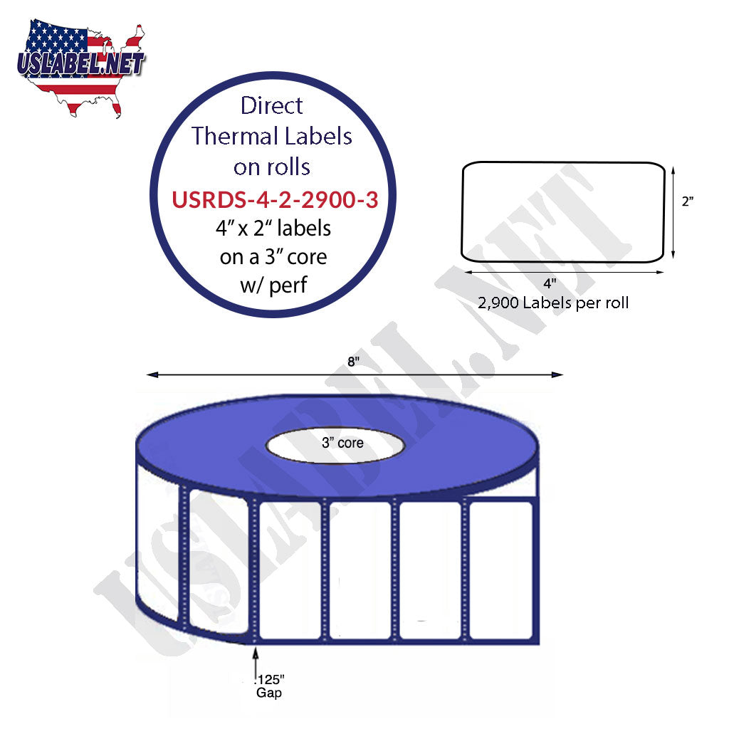 USRD-4-2-2900-3-4'' x 2''Direct Thermal 2,900 Labels on a 3'' core 11,600 Labels.