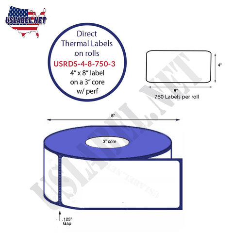 4''x 8'' Standard Direct Thermal 750 Labels on a 3'' core 4 rolls - 3,000 labels.