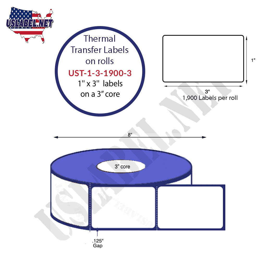 UST-1-3-1900-3 - 1'' x 3'' Labels -1,900 - 8'' O.D. on 3'' core 15,200 labels. - uslabel.net - The Label Resource Center