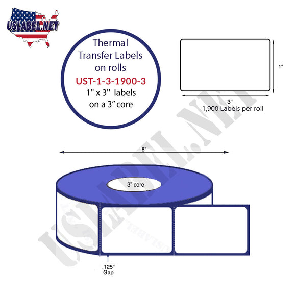 1'' x 3''   Thermal Transfer Labels on a 3 '' Core — 8 '' OD - uslabel.net  America's label store.