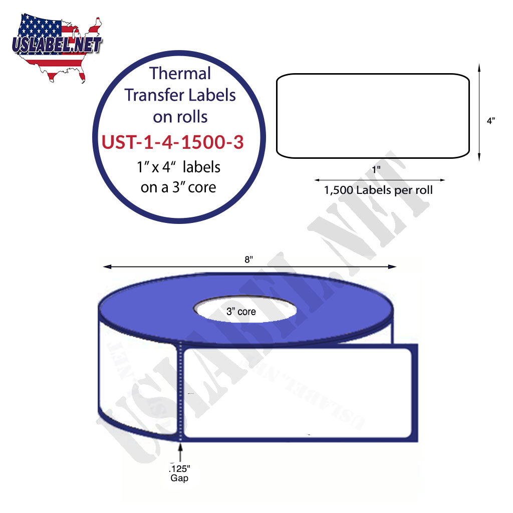 UST-1-4-1500-3 - 1'' x 4'' - 1,500 Labels 8'' O.D. on a 3''core 12,000 Labels - uslabel.net - The Label Resource Center
