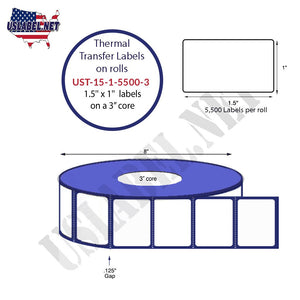 1.5'' x 1''   Thermal Transfer Labels on a 3 '' Core — 8 '' OD - uslabel.net  America's label store.