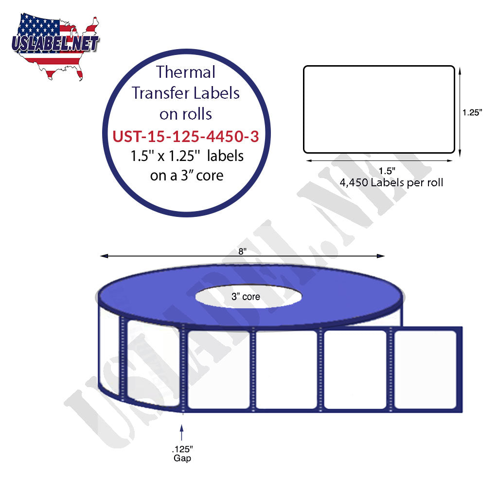 UST-15-125-4450-3 - 1 1/2'' x 1 1/4'' Labels 4,450 on a 3'' core 35,600 labels. - uslabel.net - The Label Resource Center
