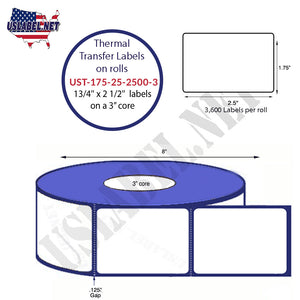 1.75'' x 2.5'' Thermal Transfer Labels on a 3 '' Core 8 ''OD - uslabel.net  America's label store.