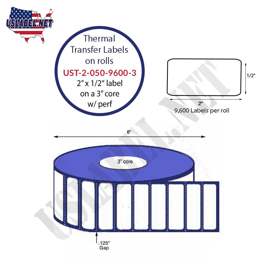 UST-2-050-9600-3-2''x .5''-9,600 Labels on a 8'' OD on a 3'' core 76,800 labels - uslabel.net - The Label Resource Center