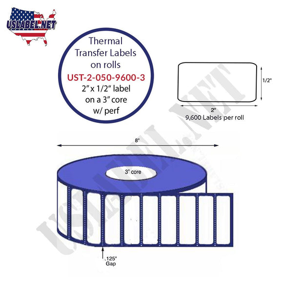 2'' x 0.5''   Thermal Transfer Labels on a 3 '' Core — 8 '' OD - uslabel.net  America's label store.