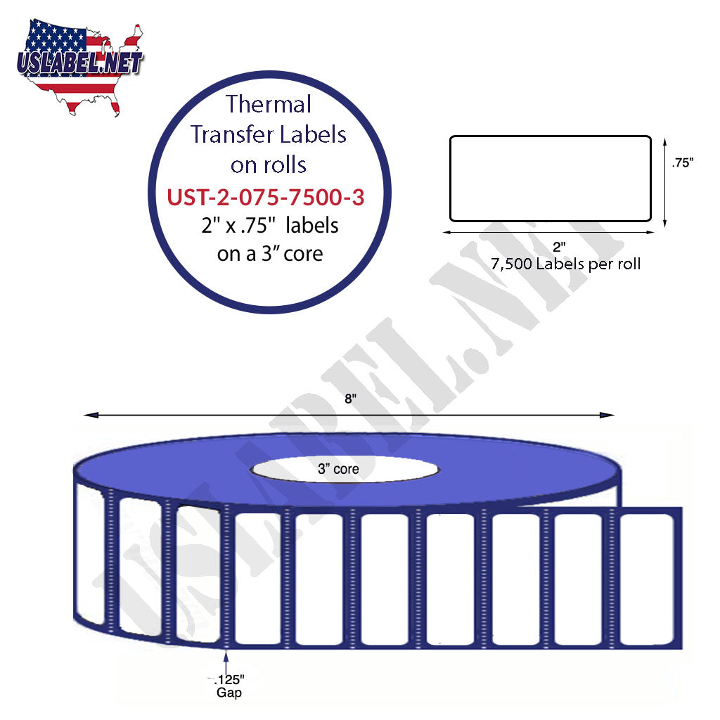 UST-2-075-7500-3-2''x .75''-7,500 Labels on a 8'' OD on 3'' core 60,000 labels - uslabel.net - The Label Resource Center