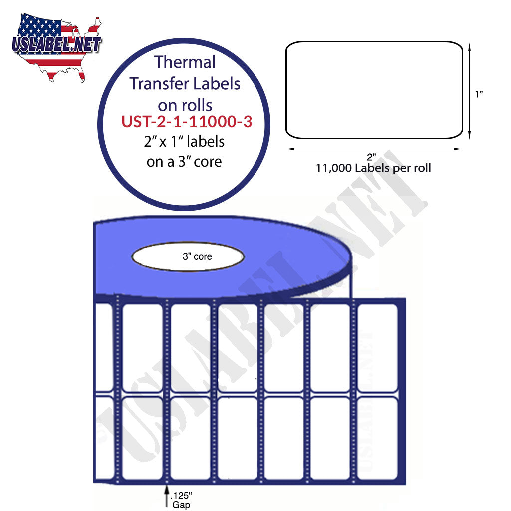 UST-2-1-11000-3 - 2'' x 1'' - 11,000 Labels 8'' OD 44,000 labels on 4 rolls.