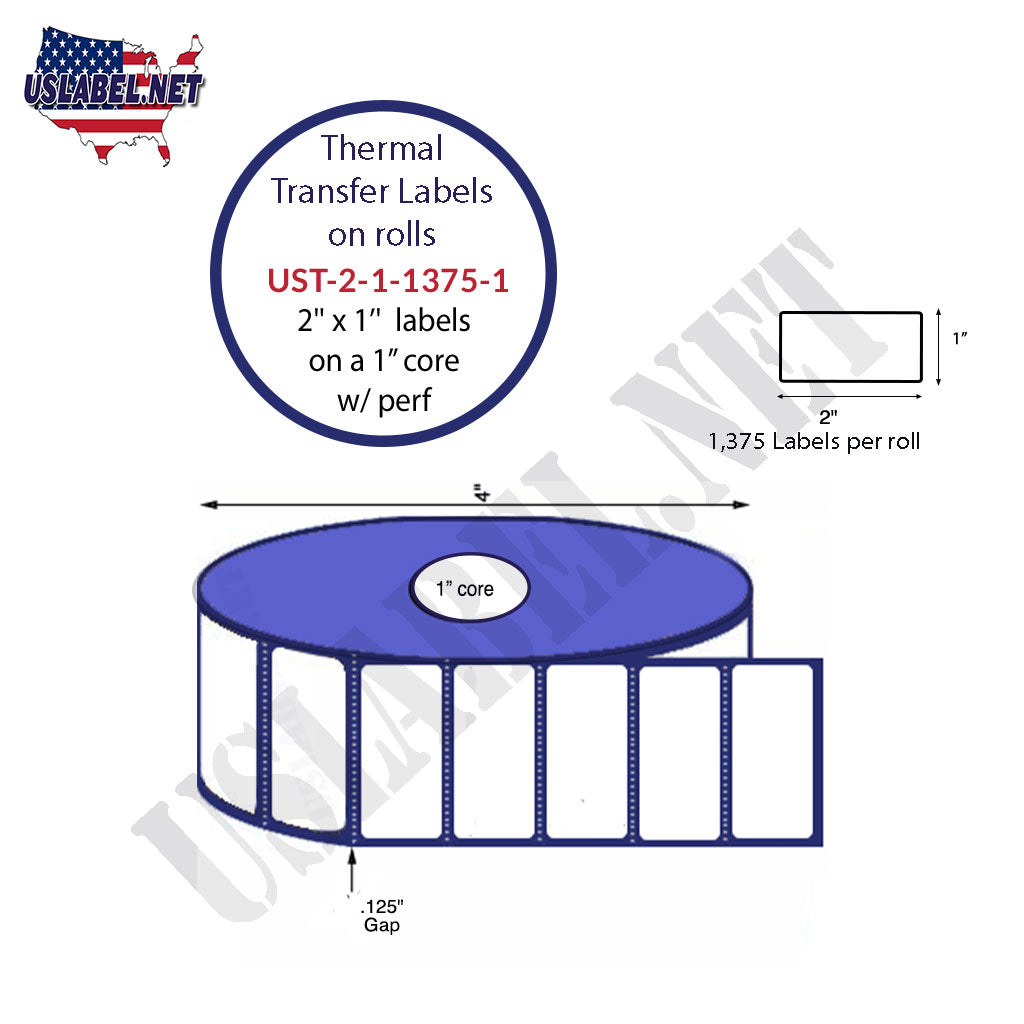 UST-2-1-1375-1-2'' x 1'' - 1,375 Labels 4'' OD on a 1'' core 16,500 labels