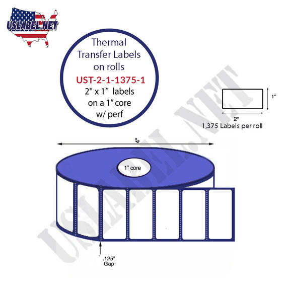2'' x 1''   Thermal Transfer Labels on a 1 '' Core — 4 '' OD - uslabel.net  America's label store.