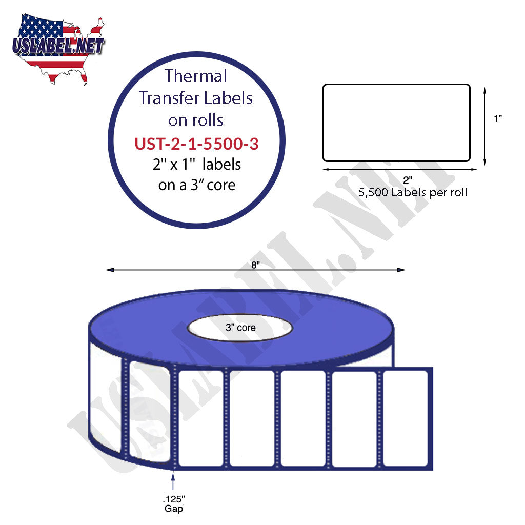 UST-2-1-5500-3-2'' x 1''-5,500 Labels on a  8'' OD on a 3'' core 44,000 labels - uslabel.net - The Label Resource Center