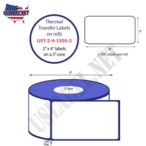 2'' x 4''   Thermal Transfer Labels on a 3 '' Core — 8 '' OD - uslabel.net  America's label store.