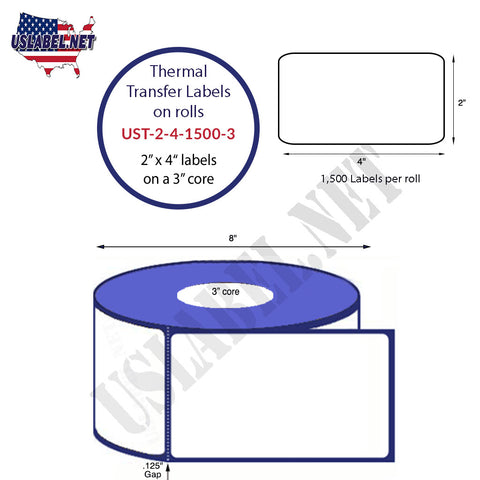 UST-2-4-1500-3-2'' x 4'' - 1,500 Labels on 3'' core 12,000 Labels.