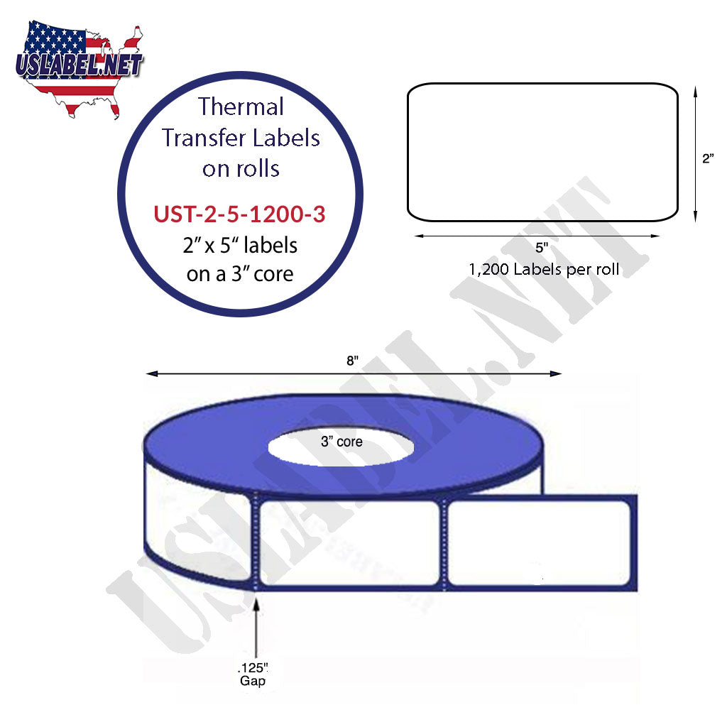 UST-2-5-1200-3-2'' x 5'' - 1,200 Labels on 3'' core 9,600 Labels. - uslabel.net - The Label Resource Center