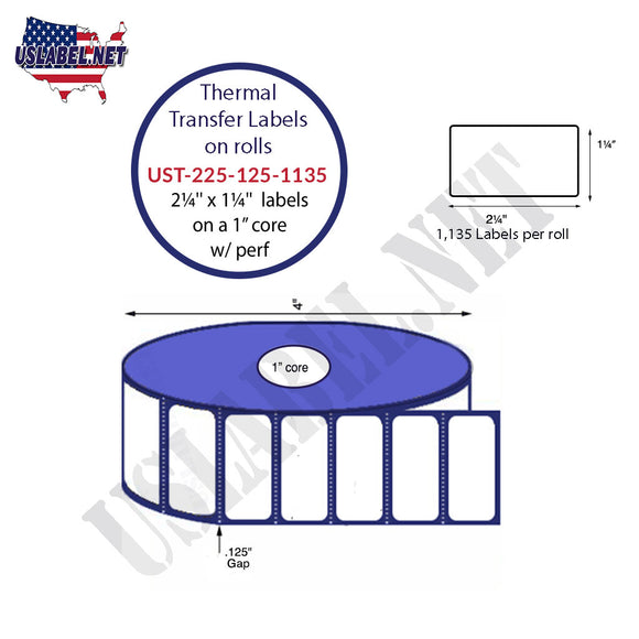 2.25'' x 1.25''   Thermal Transfer Labels on a 1 '' Core — 4 '' OD - uslabel.net  America's label store.