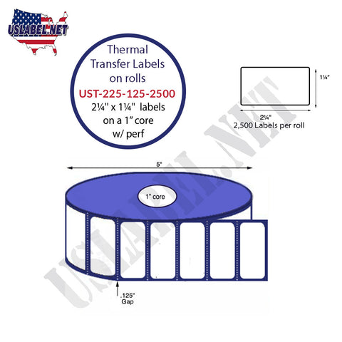 UST-225-125-2500-1-2 1/4''x1 1/4''-2100 Labels 5'' OD on1'' core 25,200 labels