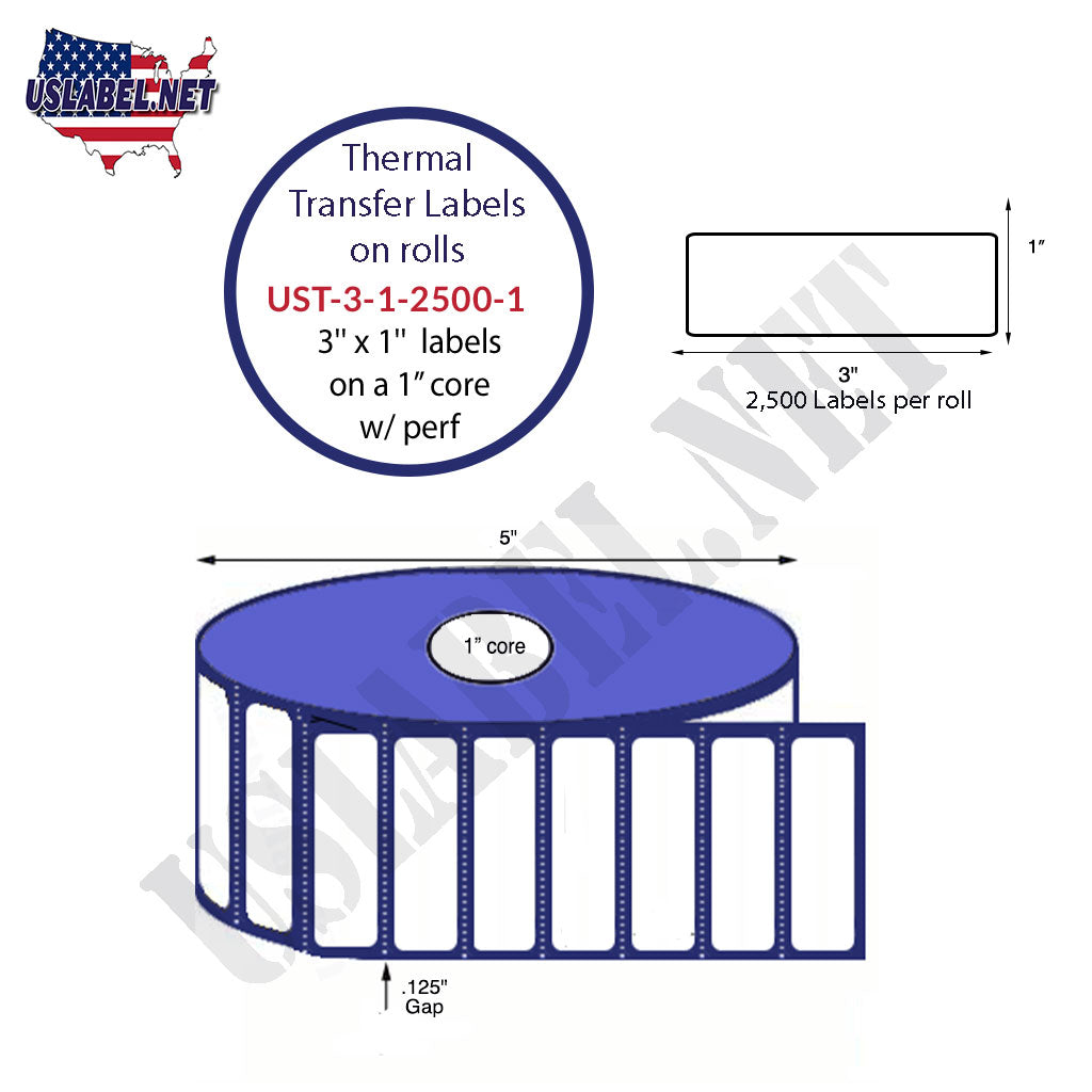 UST-3-1-2500-1 - 3'' x 1'' - 2,500 Labels 5'' OD on a 1'' core 30,000 labels