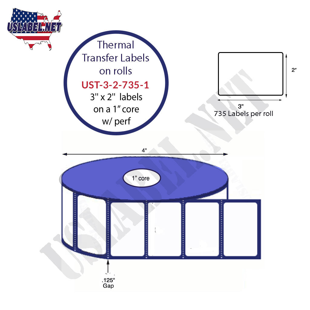 3'' x 2'' - 735 Labels 4'' OD on 1'' core 8,820 labels - uslabel.net - The Label Resource Center