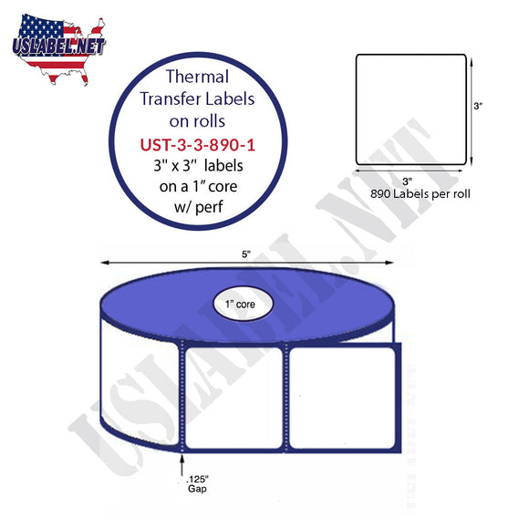 3'' x 3''   Thermal Transfer Labels on a 1 '' Core — 5 '' OD - uslabel.net  America's label store.
