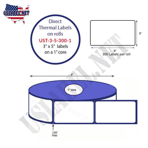 3'' x 5''   Thermal Transfer Labels on a 1 '' Core — 4 '' OD - uslabel.net  America's label store.