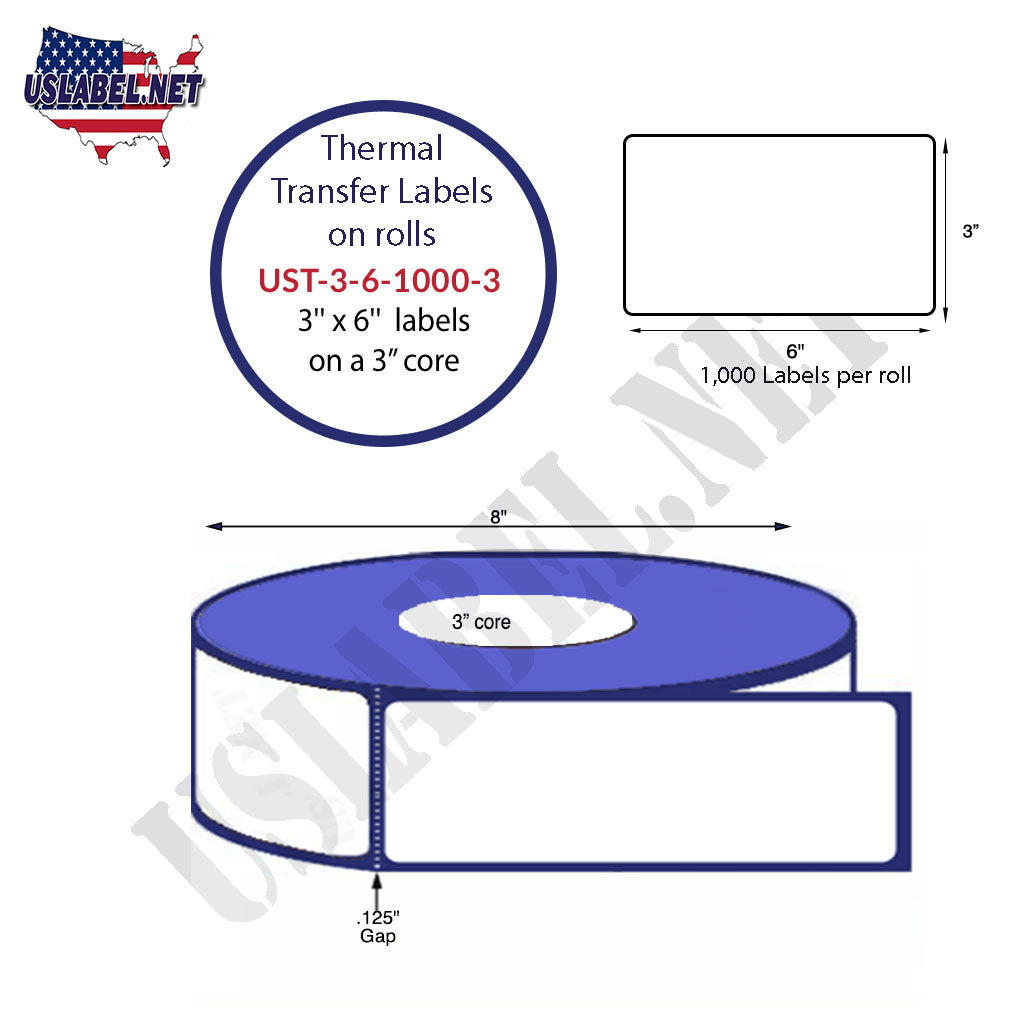 3'' x 6'' - 1000 Labels on a 8'' O.D. on 3'' core roll 4,000 Labels - uslabel.net - The Label Resource Center