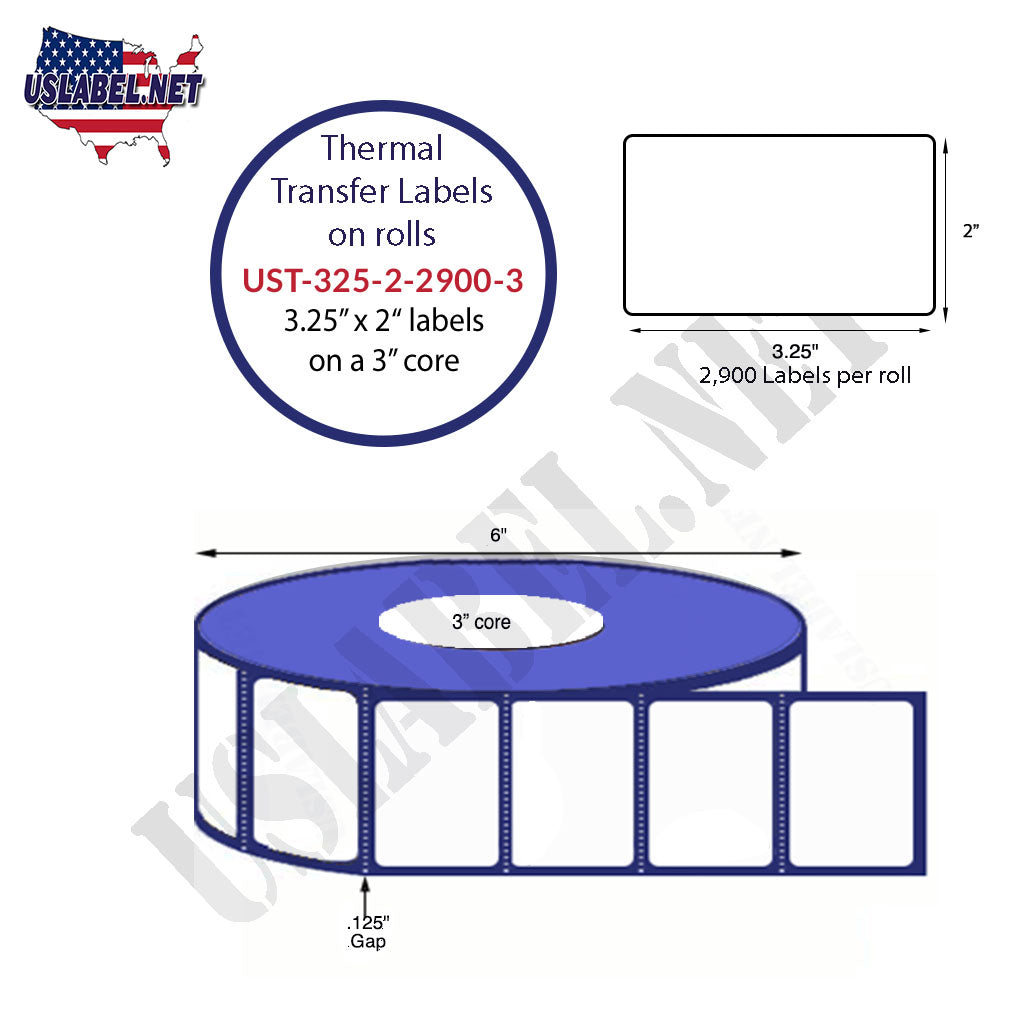 3 1/4'' x 2'' - 2,900 Labels on a 8'' O.D. on 3'' core roll 23,200 Labels - uslabel.net - The Label Resource Center