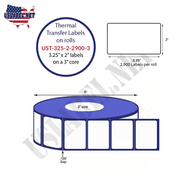 3.25'' x 2''   Thermal Transfer Labels on a 3 '' Core — 8 '' OD - uslabel.net  America's label store.