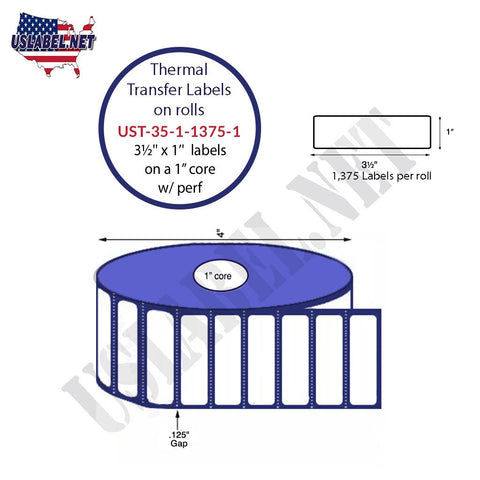 UST-35-1-1375-1-3 1/2'' x 1'' -1,375 Labels 4'' OD on a 1'' core 16,500 labels
