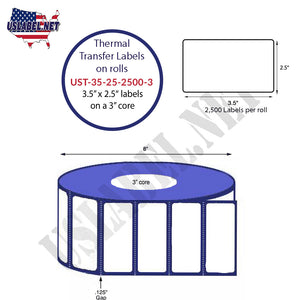 3.5'' x 2.5''   Thermal Transfer Labels on a 3 '' Core — 8 '' OD - uslabel.net  America's label store.