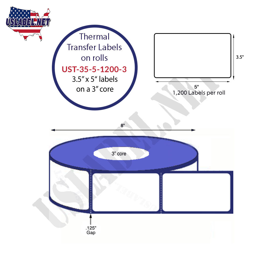 3 1/2'' x 5'' - 1200 Labels on a 8'' O.D. on 3'' core roll 4,800 Labels. - uslabel.net - The Label Resource Center