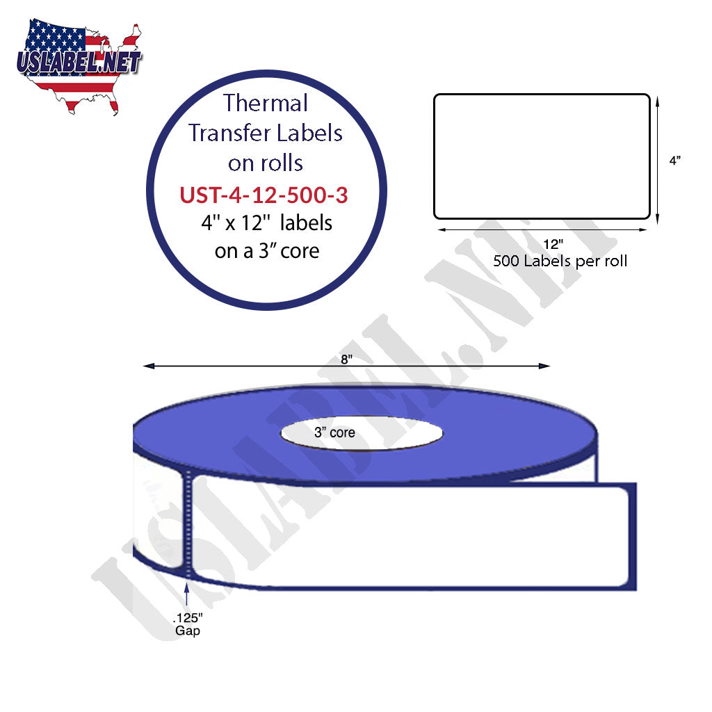 4'' x 12'' - 500 Labels on a 8'' O.D. on 3'' core roll 2,000 Labels in a box. - uslabel.net - The Label Resource Center