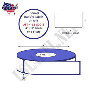 4'' x 12''   Thermal Transfer Labels on a 3 '' Core — 8 '' OD - uslabel.net  America's label store.